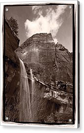 Emerald Pools Falls Zion National Park Acrylic Print by Steve Gadomski