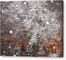 Falling Snow In A Neighborhood Acrylic Print by David Buffington