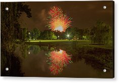 fireworks during Fair St Louis in Forest Park Acrylic Print by Garry McMichael