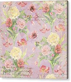 Fleurs De Pivoine - Watercolor In A French Vintage Wallpaper Style Acrylic Print by Audrey Jeanne Roberts
