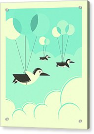 Flock Of Penguins Acrylic Print by Jazzberry Blue