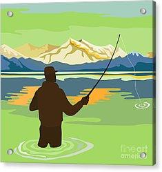 Fly Fisherman Casting Acrylic Print by Aloysius Patrimonio