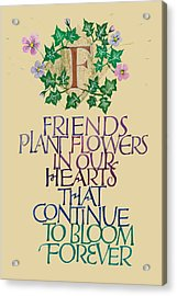 Friendship Calligraphy Print Acrylic Print by Dave Wood
