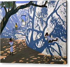 Girl On A Swing India Acrylic Print by Andrew Macara