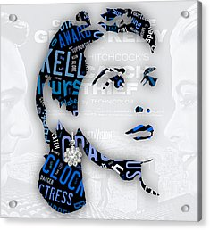 Grace Kelly Movies In Words Acrylic Print by Marvin Blaine