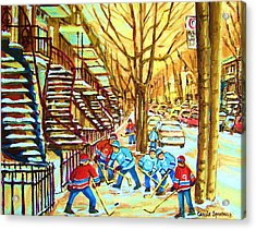 Hockey Game Near Winding Staircases Acrylic Print by Carole Spandau