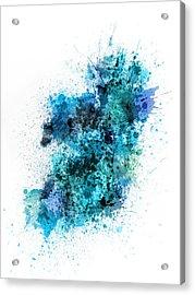 Ireland Map Paint Splashes Acrylic Print by Michael Tompsett