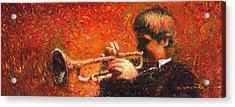 Jazz Trumpeter Acrylic Print by Yuriy  Shevchuk