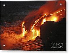 Kilauea Lava Flow Sea Entry, Big Acrylic Print by Martin Rietze