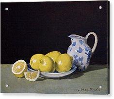 Lemon Cream Acrylic Print by Linda Tenukas