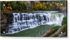 Letchworth Lower Falls Acrylic Print by Mark Papke