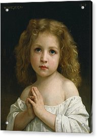 Little Girl Acrylic Print by William-Adolphe Bouguereau