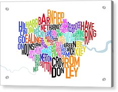 London Uk Text Map Acrylic Print by Michael Tompsett