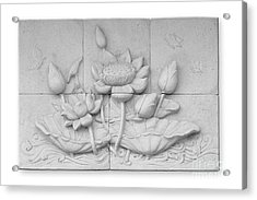 Low Relief Cement Thai Style  Acrylic Print by Phalakon Jaisangat