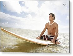 Male Surfer Acrylic Print by Brandon Tabiolo - Printscapes