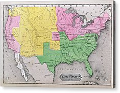 Map Of The United States Acrylic Print by John Warner Barber and Henry Hare