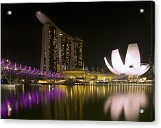 Marina Bay Sands Hotel And Artscience Museum In Singapore Acrylic Print by Zoe Ferrie