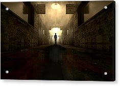 Mental Asylum With Ghostly Figure Acrylic Print by Allan Swart