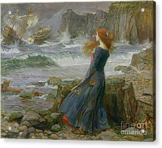 Miranda Acrylic Print by John William Waterhouse