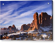 Mist Rising In Arches National Park Acrylic Print by Utah Images