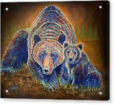 Momma Bear Acrylic Print by Teshia Art