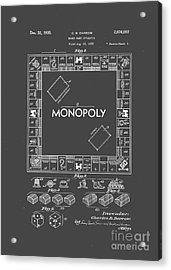 Monopoly Original Patent Art Drawing T-shirt Acrylic Print by Edward Fielding