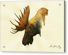 Moose Acrylic Print by Juan  Bosco