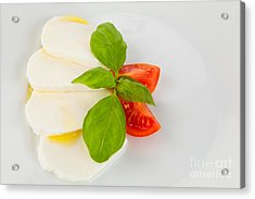 Mozzarella Salad Served Artfully With Olive Oil Acrylic Print by Wolfgang Steiner