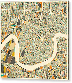 New Orleans Map Acrylic Print by Jazzberry Blue