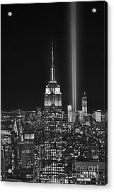 New York City Tribute In Lights Empire State Building Manhattan At Night Nyc Acrylic Print by Jon Holiday