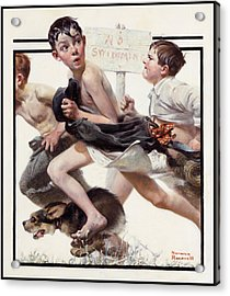 No Swimming Acrylic Print by Norman Rockwell