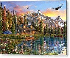 Old Log Cabin Acrylic Print by Dominic Davison