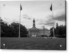 Old Main Penn State Black And White  Acrylic Print by John McGraw