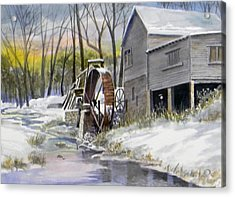 Old Mill In Winter  Sold Acrylic Print by Jack Bolin