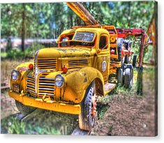 Old Yellow Dodge  Acrylic Print by Peter Schumacher