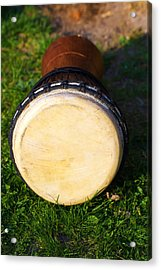 Original African Djembe Drum With Leather Lamina. On Green In Sun Light. Acrylic Print by Jozef Klopacka