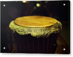 Original African Djembe Drum With Leather Lamina With Beautiful  Acrylic Print by Jozef Klopacka