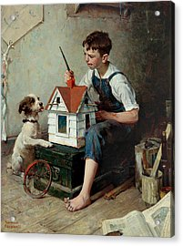 Painting The Little House Acrylic Print by Norman Rockwell