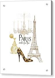 Paris - Ooh La La Fashion Eiffel Tower Chandelier Perfume Bottle Acrylic Print by Audrey Jeanne Roberts