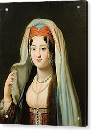 Paris Young Woman In Traditional Dress Ottoman Acrylic Print by Charles Francis
