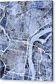 Philadelphia Pennsylvania City Street Map Acrylic Print by Michael Tompsett
