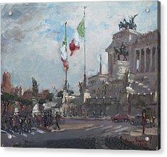 Piazza Venezia Rome Acrylic Print by Ylli Haruni