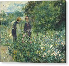 Picking Flowers Acrylic Print by Pierre Auguste Renoir