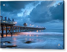 Pier In Blue Acrylic Print by Gary Zuercher