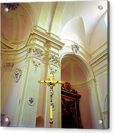 Pink Cathedral With Gold Cross Acrylic Print by Martin Sugg