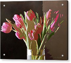 Pink Tulips In Glass Acrylic Print by David Lloyd Glover