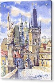 Prague Charles Bridge Acrylic Print by Yuriy  Shevchuk