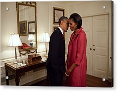 President And Michelle Obama Wait Acrylic Print by Everett
