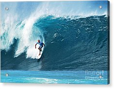 Pro Surfer Kelly Slater Surfing In The Pipeline Masters Contest Acrylic Print by Paul Topp
