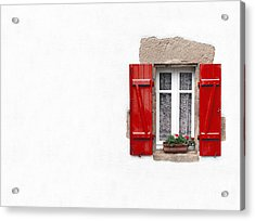 Red Shuttered Window On White Acrylic Print by Jane Rix